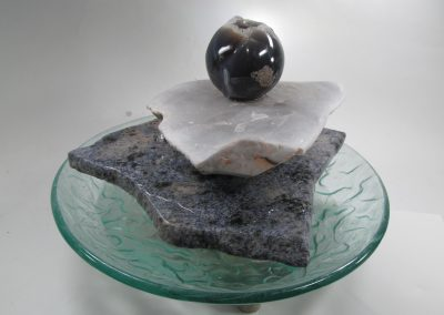 Blue Glss Fountain with Geode Sphere 2 2017