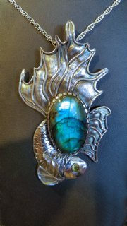 Patty McFall Fish Tail Sterling Silver, Labradorite and Peridot