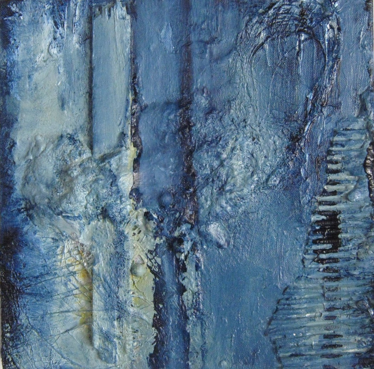 A Small Blue Painting - mixed media on canvas - 12 x `12