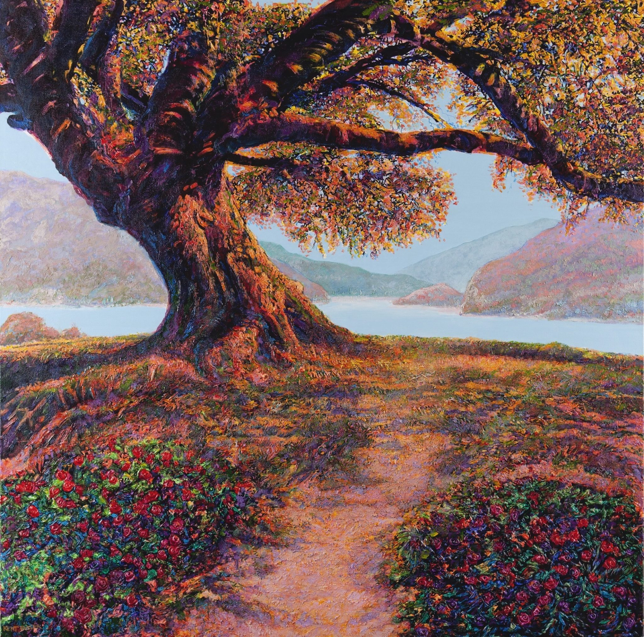 Butler Kent_ Oak Tree By Lake copy acrylic 30x30