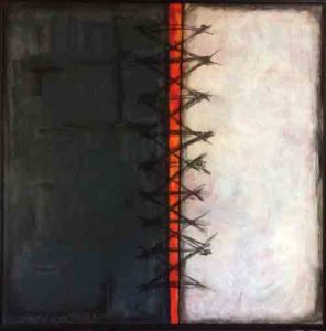 Gayel Childress-MENDING-THE-DIVIDE, Acrylic-and-Charcoal-30-X-40