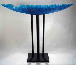 Stephen-Edwards_Blue-Wedge, Furnace cast glass, steel