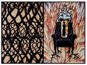 Susan Stinsmulen-Amend__A-Man's-Chair_,-2001,-kiln-fired-paint-on-glass,-paint-and-graphite-on-wood-panels,-24_-x-32