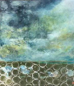Wrona Gall_Tempest, acrylic metal paper on board