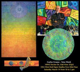 Carlos Grasso – Open Studio, OSA 2nd Saturdays Tour (free), 10 am – 5 pm