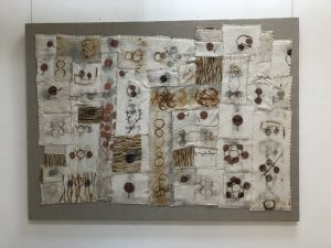 "Carol Shaw-Sutton_I and Thou, Fiber: wool, rust & linen, 50"" x 68"" x 2"""