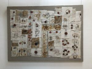 "Carol Shaw-Sutton_I and Thou, Fiber: wool, rust & linen, 50"" x 68"" x 2"""
