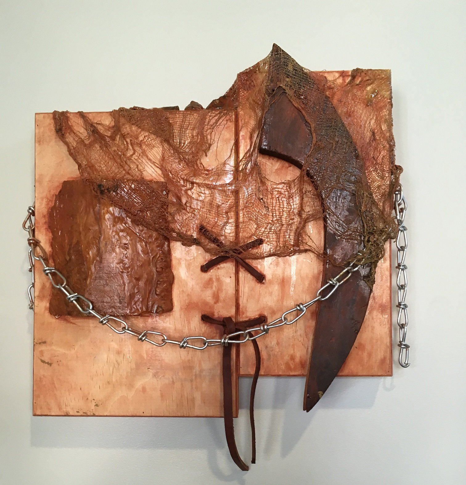 Soni-Wright_Mending the Divide, mixed media on wood