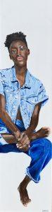Lucinda Yates: Code Blue, Acrylic on canvas 12X48