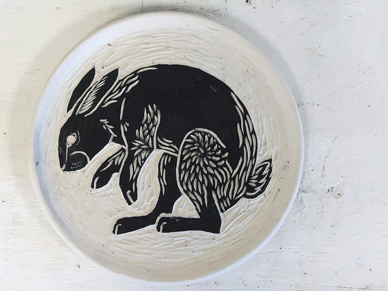 Rabbit plate by Saga Leslie