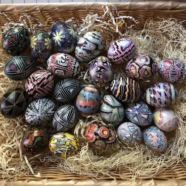 A basket of eggs for gifts