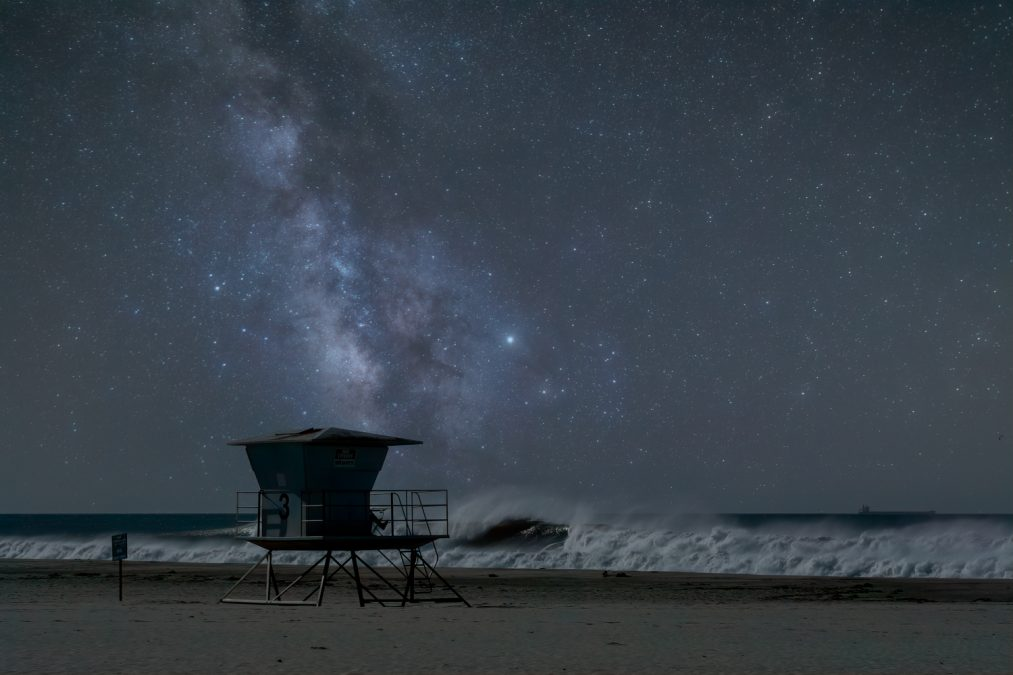 Milky Way Drifts Across the Lifeguard Tower