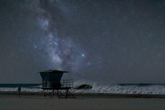 Milky Way Drifts Across the Lifeguard Tower