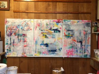 Gayel Childress   Work in progress… stages of development of painting a triptych a commission from the very beginning to completion.