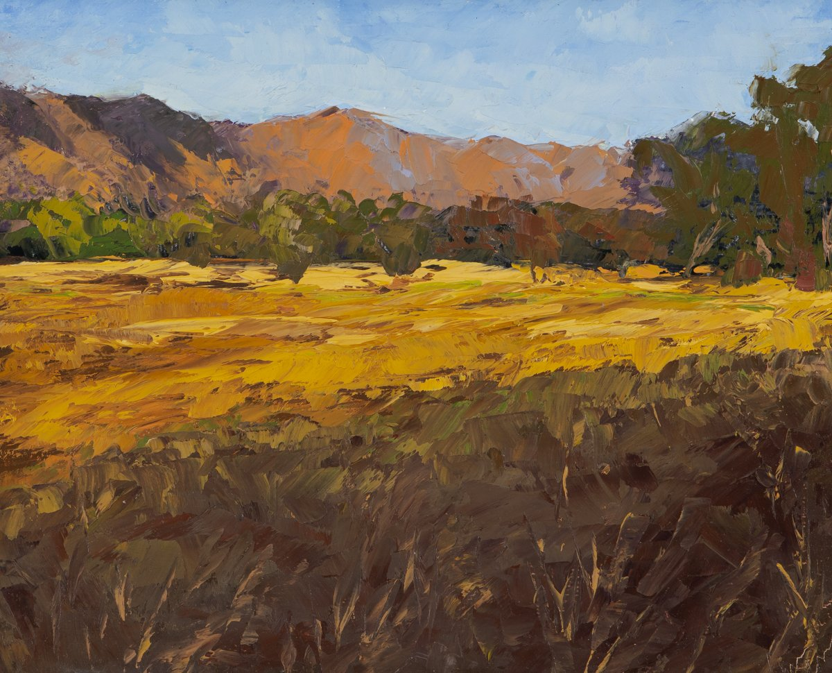 Christine Apostolina Beirne Ojai Meadow Afternoon, oil on board, 8x10, plein air