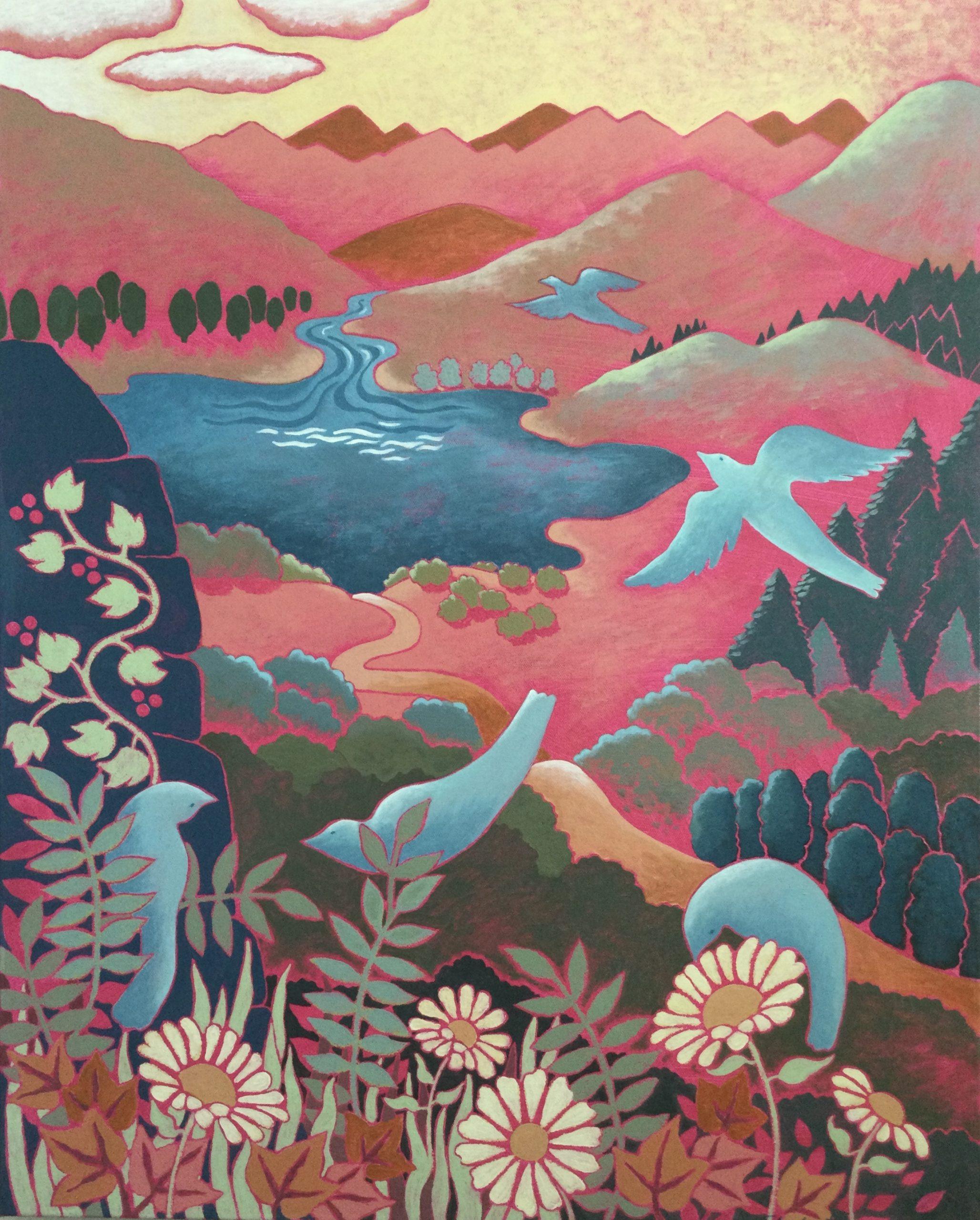 Shahastra Levi LOVE POEMS:Reflection acrylic on canvas