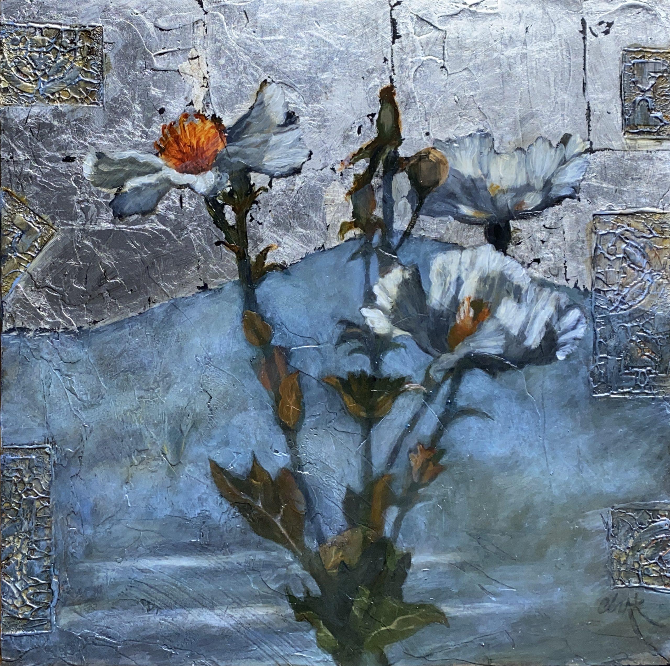 Leslie Clark Silver Matilija 20 x 20 Oil and silver leaf on panel