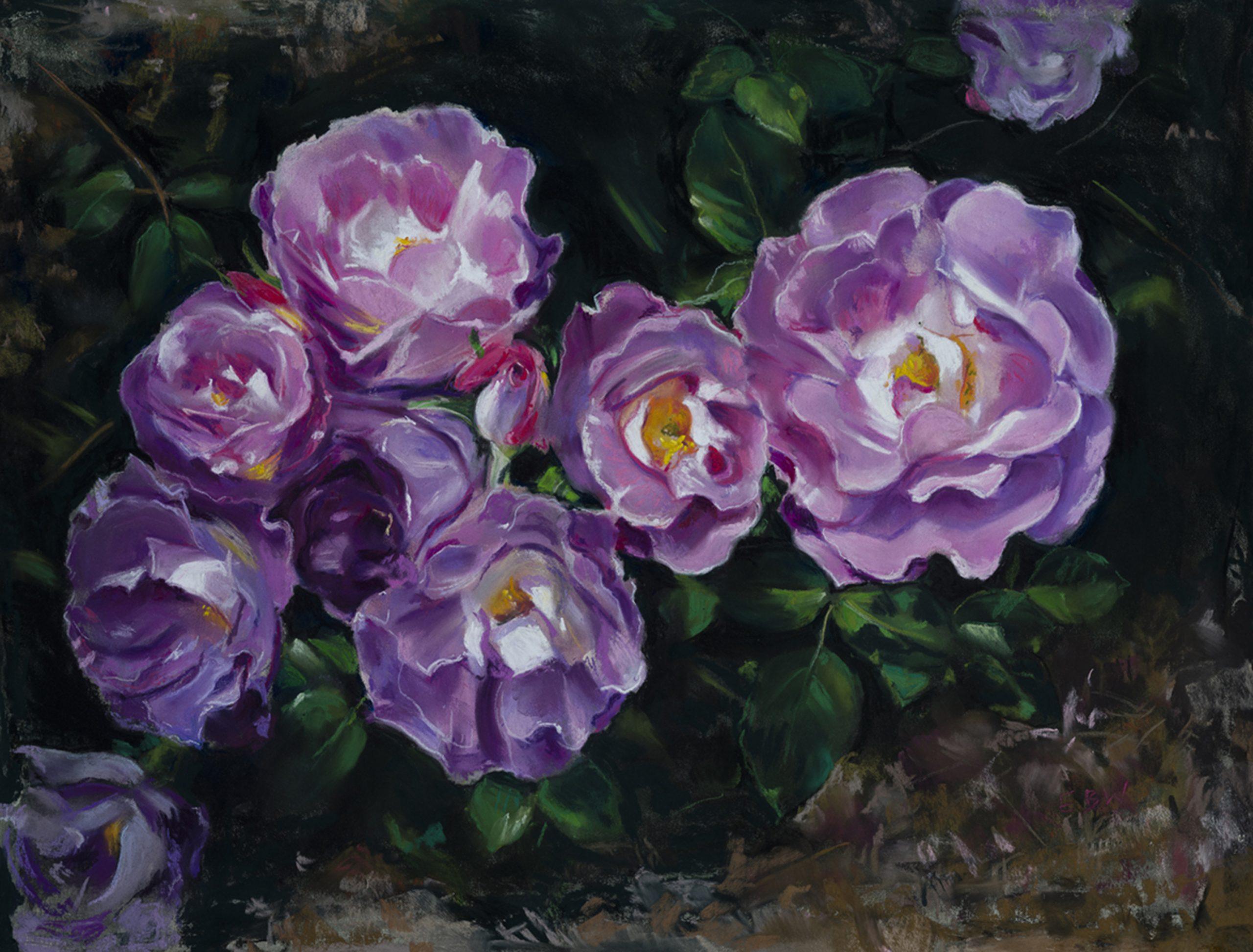 Elizabeth White Purple Blooms